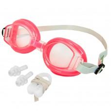 Очки для плавания детские с берушами и клипсой для носа в комплекте FitGo, код: G7315-S52