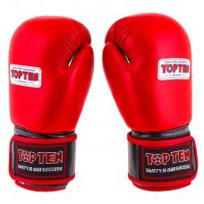 Боксерські рукавички TopTen шкіра червоний 10oz, код: TT025-10R