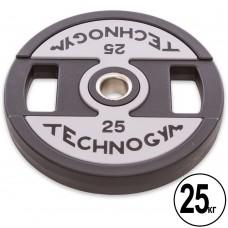 Диски поліуретанові Technogym з хватом і металевою втулкою 25кг (d-51мм), код: TG-1837-25-S52