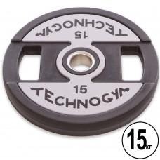 Диски полиуретановые Technogym с хватом и металлической втулкой 15кг (d-51мм), код: TG-1837-15-S52