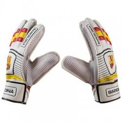 Воротарські рукавички PlayGame Latex Foam FC Barcs, біло-жовтий, розмір 6, код: GG-BR6-WS