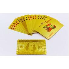 Игральные карты золотые PlayGame Gold 100 Dollar 54 шт, код: IG-4566-G