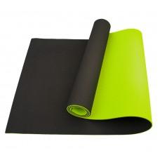 Коврик для йоги та фітнесу Sportcraft TPE Black/Lime 1830х610х6 мм, код: ES0017