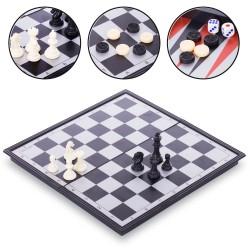 Шахи, шашки, нарди 3 в 1 дорожні ChessTour 300x300 мм, код: 9718