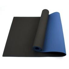 Коврик для йоги та фітнесу Sportcraft TPE Black/Blue 1830х610х6 мм, код: ES0019