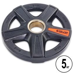 Блины полиуретановые Zelart 5 отверстий с металлической втулкой 5кг (d-51мм), код: TA-5335-5-S52