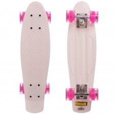 Скейтборд пластиковий Penny Led Wheels 22in з світяться колесами білий-рожевий, код: SK-5672-9-S52