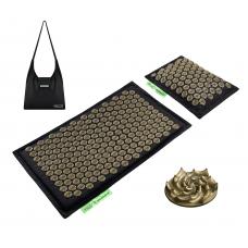 Килимок акупунктурний з подушкою 4Fizjo Eco Mat Black/Gold 68x42 см, код: 4FJ0179