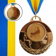 Медаль спортивная с лентой Aim Роликовые коньки d-50 мм, код: C-4846-0087