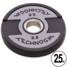 Диски поліуретанові Technogym з хватом і металевою втулкою 2,5кг (d-51мм), код: TG-1837-2_5-S52