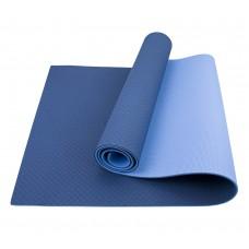 Коврик для йоги та фітнесу Sportcraft TPE Blue/Sky 1830х610х6 мм, код: ES0009