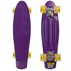 Скейтборд пластиковий Penny Led Wheels 22in з світяться колесами фіолетовий-жовтий, код: SK-5672-3-S52