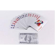 Игральные карты серебряные Silver 100 Dollar, код: IG-4566-S-S52