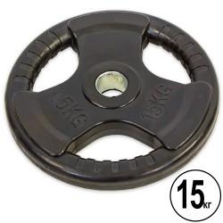 Блины обрезиненные Record с тройным хватом и металлической втулкой 15кг (d-52мм), код: TA-8122-15-S52