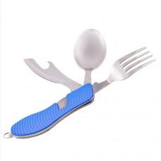 Набор туристический Camping вилка, ложка, нож, открывашка, код: HX-12