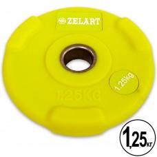 Диски полиуретановые Zelart с хватом и металлической втулкой 1,25кг (d-28мм), код: TA-5336-28-1_25-S52