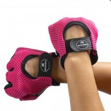 Рукавички велосипедні без пальців BoyBo шкіра/сітка рожеві, код: SF6-301-3