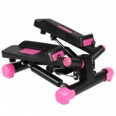 Міні-степпер поворотний з еспандерами SportVida Black/Pink, код: SV-HK0358