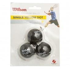 Мяч для сквоша Wilson 3шт Staff (резина, d-см, 1 желтая точка, медленный мяч, черный), код: WRT618300-S52