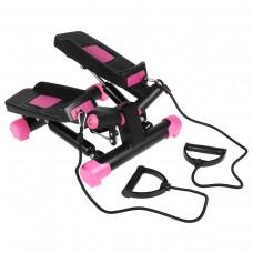 Міні-степпер поворотний з еспандерами SportVida Black/Pink, код: SV-HK0360